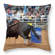 American Rodeo Female Barrel Racer Dark Horse IIi Throw Pillow by Sally Rockefeller
