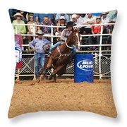 American Rodeo Female Barrel Racer White Blaze Chestnut Horse Iv Throw Pillow by Sally Rockefeller