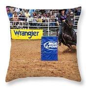 American Rodeo Female Barrel Racer White Star Horse I Throw Pillow by Sally Rockefeller