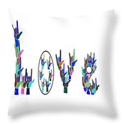 American Sign Language I Love You On White Throw Pillow