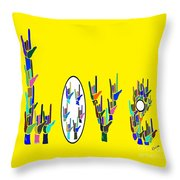 American Sign Language Love Hands Throw Pillow