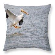 American White Pelican Water Landing 2 Throw Pillow