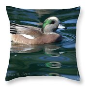 American Widgeon Duck Throw Pillow