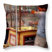 Americana - Candy - Getting Cotton Candy  Throw Pillow by Mike Savad