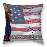 Americana Military Christmas 1 Throw Pillow