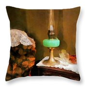 Americana - Still Life With Hurricane Lamp Throw Pillow