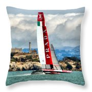 America's Cup And Alcatraz Ll Throw Pillow