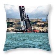 America's Cup And Alcatraz Throw Pillow