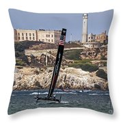 Americas Cup Oracle Team And Alcatraz Throw Pillow