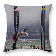 Americas Cup Oracle Team Usa V Artemis Racing Throw Pillow