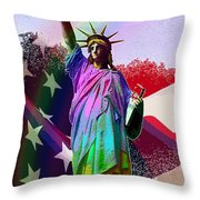 America's Statue Of Liberty Throw Pillow