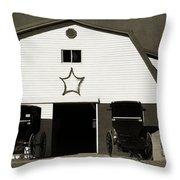 Amish Barn And Buggies Throw Pillow
