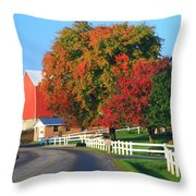 Amish Barn In Autumn Throw Pillow