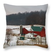 Amish Barn In Winter Throw Pillow by Dan Sproul
