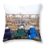 Amish Barn Raising Throw Pillow