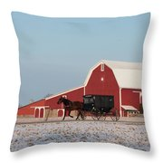 Amish Buggy And Red Barn Throw Pillow