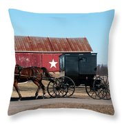 Amish Buggy And Star Barn Throw Pillow