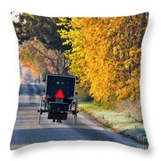 Amish Buggy And Yellow Leaves Throw Pillow