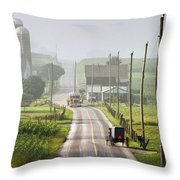 Amish Buggy Confronts The Modern World Throw Pillow