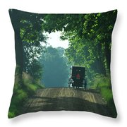 Amish  Buggy Gravel Road Throw Pillow