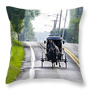 Amish Buggy In Lancaster County Pa. Throw Pillow