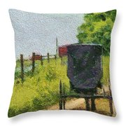 Amish Buggy In Ohio Throw Pillow