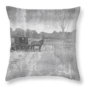 Amish Buggy In Old Book Throw Pillow