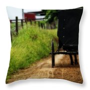Amish Buggy On Dirt Road Throw Pillow