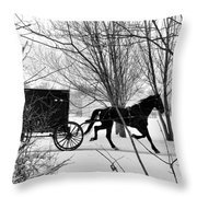 Amish Buggy Revised Throw Pillow