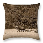 Amish Farmer Tilling The Fields In Black And White Throw Pillow
