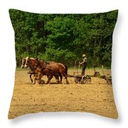 Amish Farmer Tilling The Fields Throw Pillow