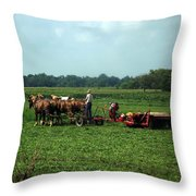 Amish Field Work Throw Pillow