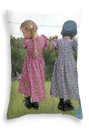 Amish Girls Having Fun Throw Pillow