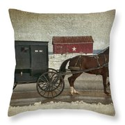 Amish Horse And Buggy And The Star Barn Throw Pillow