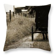 Amish Horse And Buggy Throw Pillow