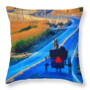 Amish Horse And Buggy In Autumn Throw Pillow