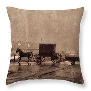 Amish Horse And Buggy With Wagon Bw Throw Pillow