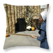 Amish Making Apple Butter Throw Pillow