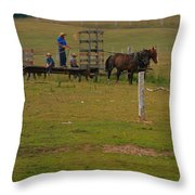 Amish Man And Two Sons On The Farm Throw Pillow