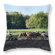 Amish Plowing Field Throw Pillow