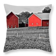 Amish Red Barn And Farm Throw Pillow
