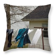 Amish Washday - Allen County Indiana Throw Pillow
