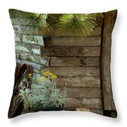 Amish Wood Shed Throw Pillow
