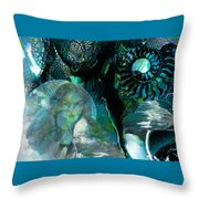 Ammonite Seascape Throw Pillow
