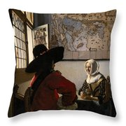 Amorous Couple Throw Pillow by Jan Vermeer