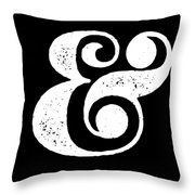 Ampersand Poster Black Throw Pillow
