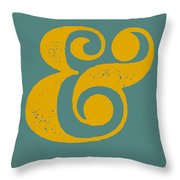 Ampersand Poster Blue And Yellow Throw Pillow by Naxart Studio