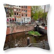 Amstel River Waterfront In Amsterdam Throw Pillow