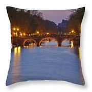 Amsterdam - Canal In The Evening Throw Pillow