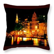 Amsterdam At Night Four Throw Pillow